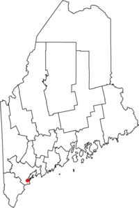 Map of Maine highlighting Portland