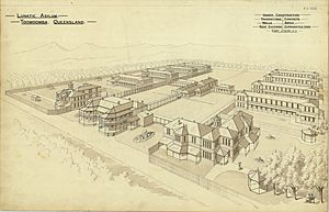 Perspective drawing of the Lunatic Asylum, Toowoomba, circa 1888