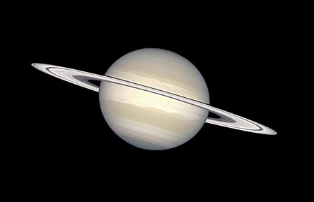 Saturn in natural colors (captured by the Hubble Space Telescope)
