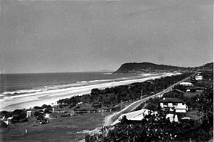 StateLibQld 1 111140 Panoramic view of the beach at Burleigh Heads on the Gold Coast, ca. 1940