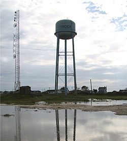 The water tower in the center of Tangier Island