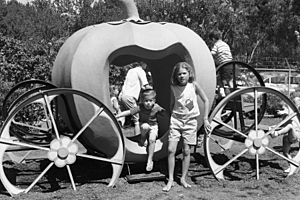 Children leaving pumpkin ride in William Land Park, Sacramento, 1963
