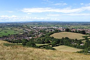Glastonbury (part of) from the tor arp