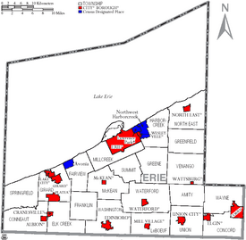 Map of Erie County Pennsylvania With Municipal and Township Labels