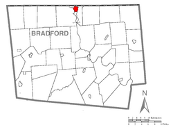 Map of Bradford County with Sayre highlighted