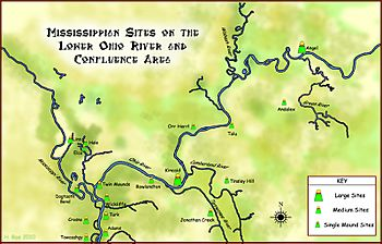 Mississippian sites on Lower Ohio Map HRoe 2010
