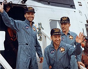 The Apollo 13 crew following recovery