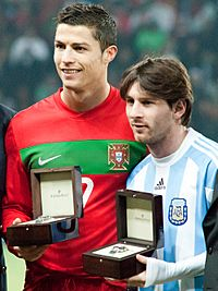 Cristiano Ronaldo and Lionel Messi - Portugal vs Argentina, 9th February 2011
