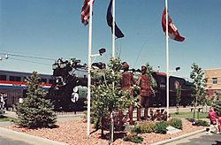 "The Havre railroad stationthe sculpture is ""U.S. − Canada Friendship"""