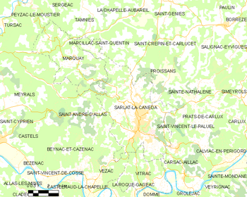 Map of the commune of Sarlat-la-Canéda