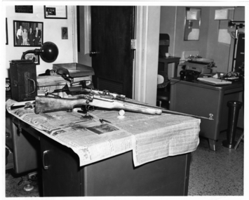 6.13, 1963. Rifle that killed Medgar Evers. Located latent fingerprints on telescopic site. Medgar was shot off Delta Drive, Jackson, Miss.