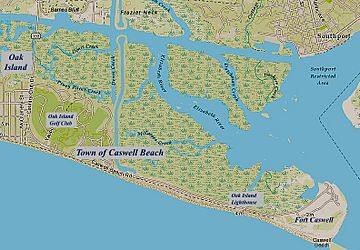 Caswell Beach NC Map (annotated)