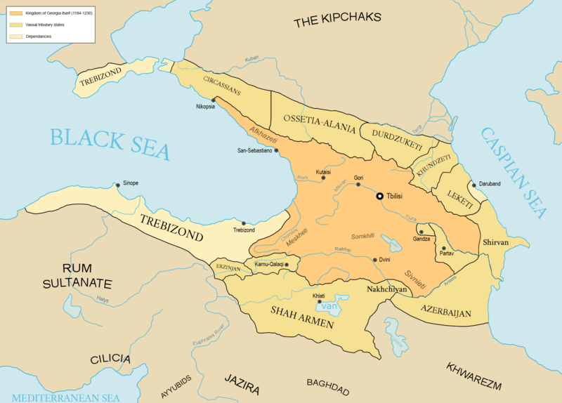 Georgian empire with tributaries