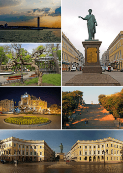 Counterclockwise: Monument to the Duc de Richelieu, Vorontsov Lighthouse, City garden, Opera and Ballet Theatre, Potemkin Stairs, Square de Richelieu