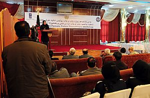 Col. Shafiqa Quraishi, Director of the Afghan National Police Gender Mainstreaming Unit, speaks at an ANP female recruiting conference (4329927147)