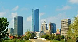 Downtown Oklahoma City skyline from the Northeast
