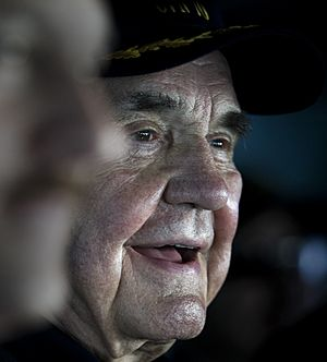 US Navy 101212-N-2055M-059 Legendary sports broadcaster Dick Enberg observes flight operations aboard USS Carl Vinson (CVN 70) (cropped).jpg