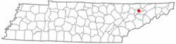 Location of Rutledge, Tennessee