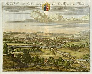 West prospect of Gloucester by Kip, c.1725.