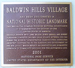 Baldwin Hills Village, Landmark Plaque