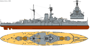 HMS Revenge (1916) profile drawing