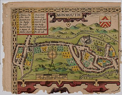 Old map of Monmouth, Wales