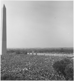 Civil Rights March on Washington, D.C. (Aerial view of Washington Monument showing marchers.) - NARA - 541997