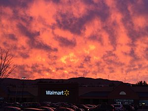 Plymouth NH Sunset over Walmart (close up)