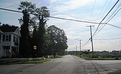 View of the intersection facing east
