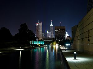 Downtown Indy at night from canal walk
