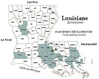 Map of Creole-Speaking Parishes in Louisiana