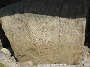 Megalithic art at Knowth burial site in Ireland