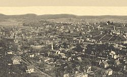 """Panorama From Castle Rock"" of Seymour, from a 1905 postcard"
