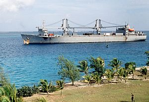 SS Flickertail State (T-ACS-5) arriving Johnston Atoll 1990