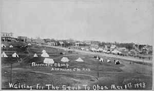 """Boomers Camp. Arkansas City, Kan. Waiting For the Strip To Open Mar. 1st, 1893."" - NARA - 516453"