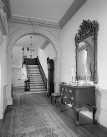 HALL AND STAIL, LOOKING WEST FROM ENTRANCE DOOR (1962) - Samuel Powel House, 244 South Third Street, Philadelphia, Philadelphia County, PA HABS PA,51-PHILA,25-6