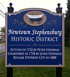 Newtown-Stephensburg Historic District sign