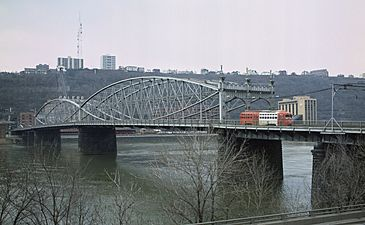 Smithfield Street Bridge from the northeast in 1984 with trolley car
