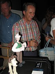 Wallace, Gromit, and creator Nick Park