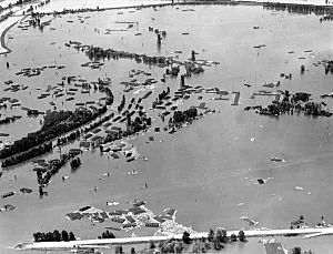 Aerial view of vanport flooded