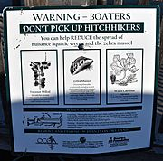 Invasive species sign at Cooperstown boat launch
