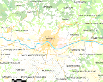 Map of the commune of Bergerac