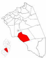 Shamong Township highlighted in Burlington County. Inset map: Burlington County highlighted in the State of New Jersey.