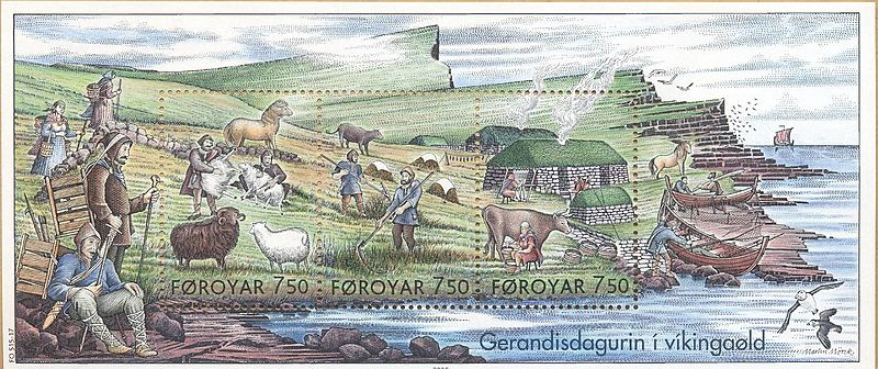 Faroe stamps 515-517 everyday life in the viking age