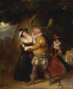 "James Stephanoff - Falstaff at Herne's Oak, from ""The Merry Wives of Windsor,"" Act V, Scene v - Google Art Project"