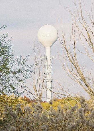 A tall metal pole with metallic rings around it and a ball-like structure at the top, seen from a nearby wooded area