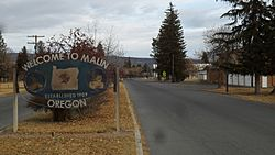 Malin city sign on Klamath Falls-Malin Highway.