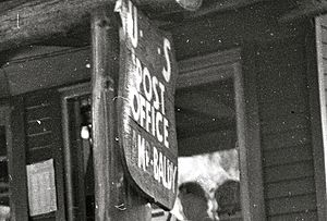 Post Office sign for Mount Baldy, California, about 1953