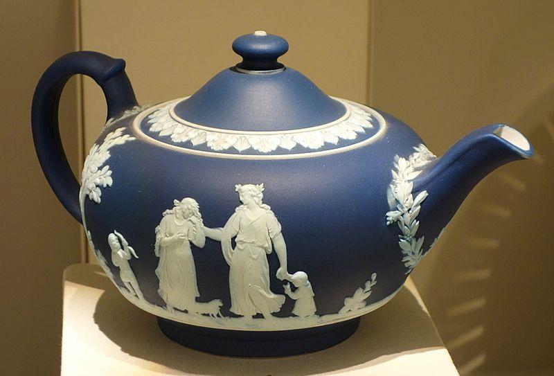 Teapot, Josiah Wedgwood and Sons, c. 1840, blue jasperware - Chazen Museum of Art - DSC01980