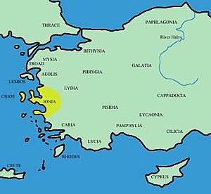 Turkey ancient region map ionia